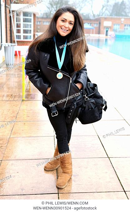 Casey Batchelor braves the winter chill and dips into Hampstead Heath Lido as part of the Chilly Dip campaign for Haven House Children's Hospice Featuring:...