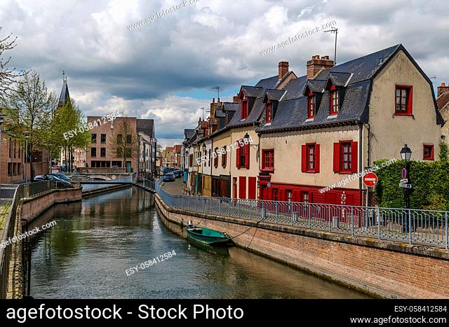 embankment of Somme river in Amiens, France