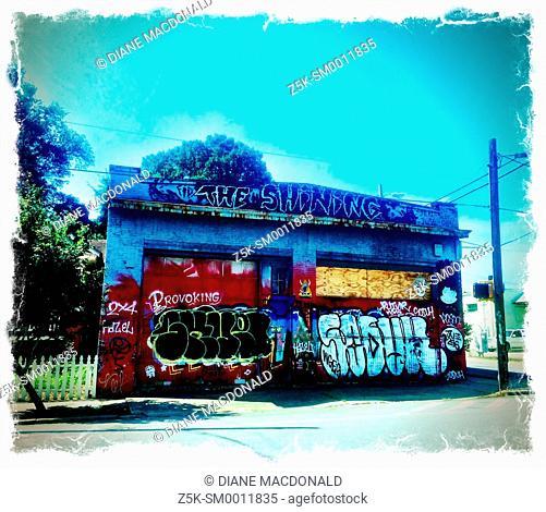 A graffiti covered abandonned building in Atlanta, Georgia, USA