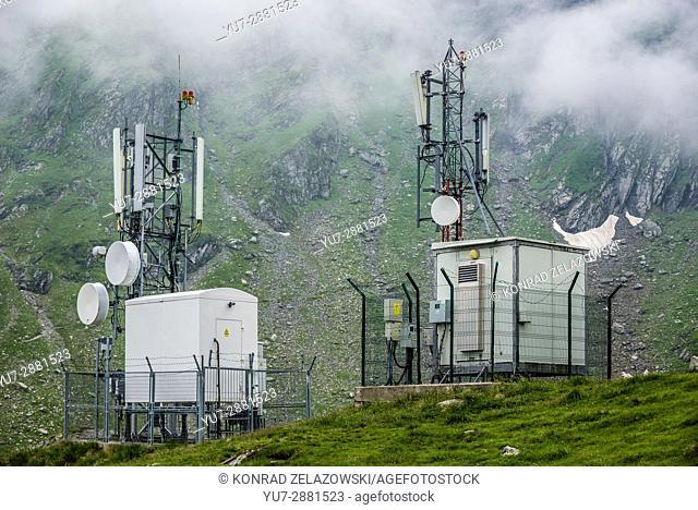 Weather station near glacier Balea Lake next to Transfagarasan Road in Fagaras Mountains (part of Carpathian Mountains), Romania