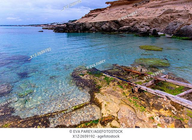 The pier of Es Caló des Mort. Formentera (Balearic Islands)