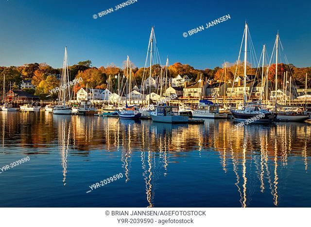 Autumn morning in the Camden harbor, Camden Maine, USA