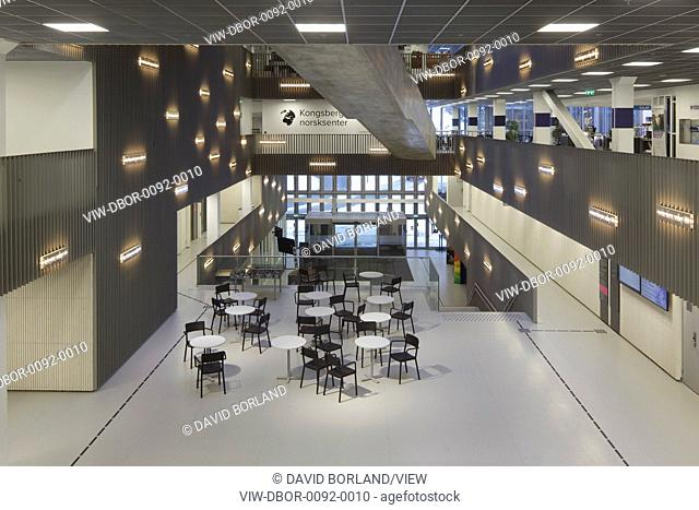The 24,000 sq m Krona Knowledge & Cultural Centre, opened in 2015, encompasses a range of functions at the heart of Kongsberg: a