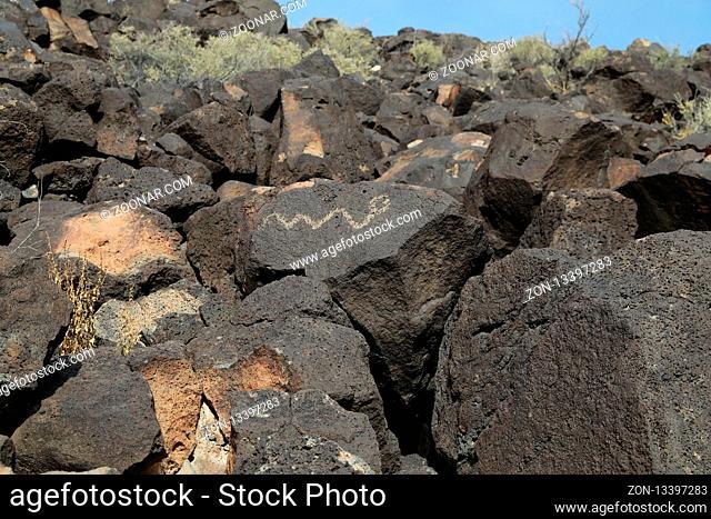 Petroglyphs at Boca Negra at Petroglyph National Monument in Albuquerque, New Mexico
