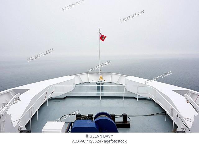 Sailing through the fog on Georgian Bay aboard the Chi-Cheemaun ferry to Manitoulin Island, Ontario, Canada