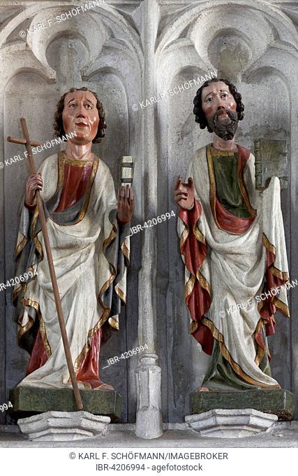 Apostle Philip and Matthew, Gothic wood sculptures, parish church of St. Mauritius, Spitz, Wachau, Waldviertel, Lower Austria, Austria