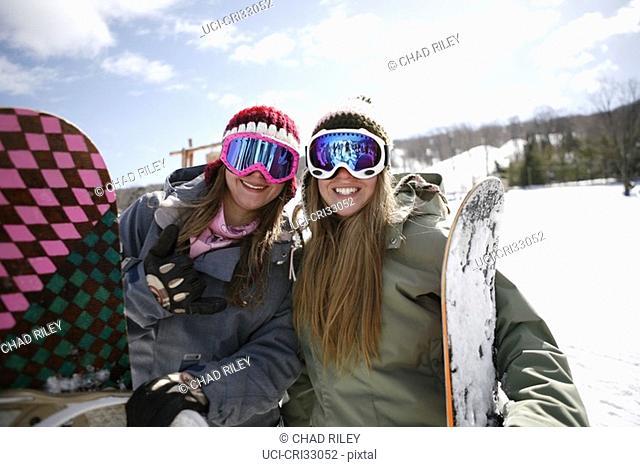 Two women wearing ski goggles smiling
