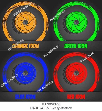 diaphragm icon. Aperture sign. Fashionable modern style. In the orange, green, blue, red design. Vector illustration