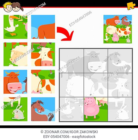 Cartoon Illustration of Educational Jigsaw Puzzle Activity Game for Children with Happy Farm Animals Group