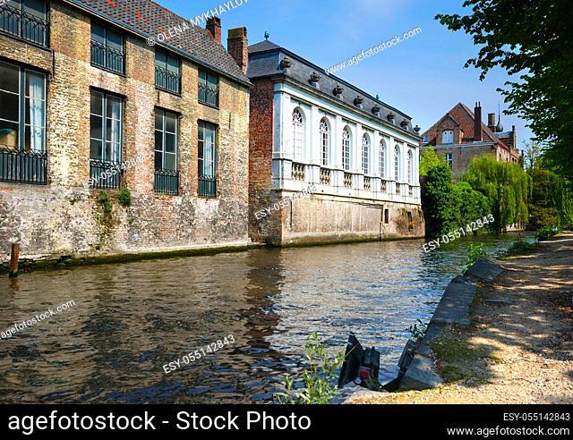 Old buildings along canal, Brugge Belgium