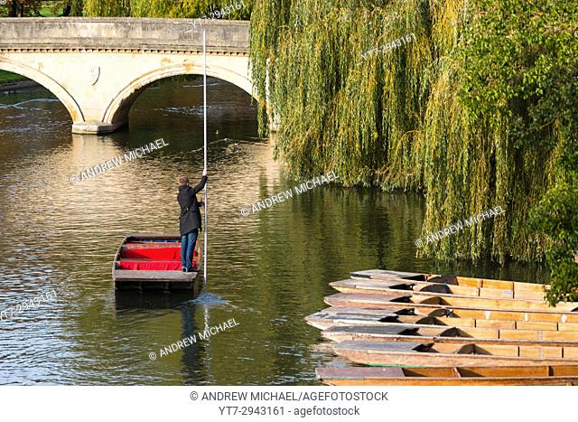 A sole punter on river Cam, Cambridge. UK