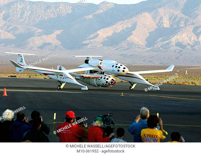 Ansari XPrize 1st Flight for SpaceShipOne: White Knight and SS1 taxing out to take off