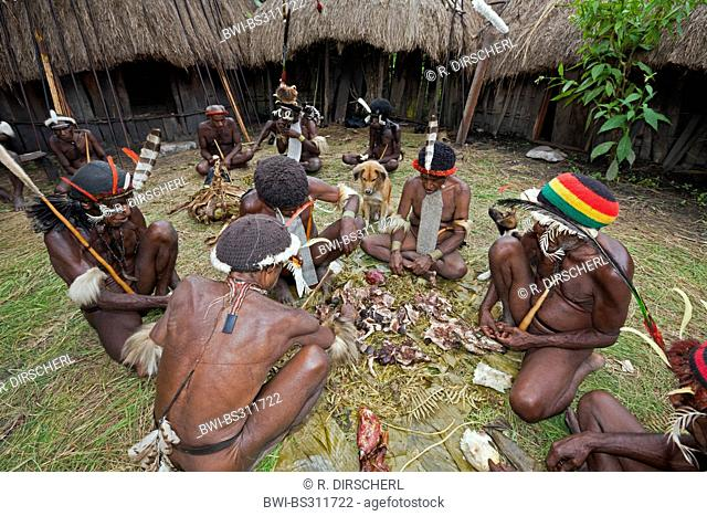 Dani tribe with the remains of a pig cooked for the rare pigs feast, the pinnacle of the social and religious life, Indonesia, Western New Guinea, Baliem Valley