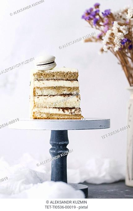 Slice of cake with macaron
