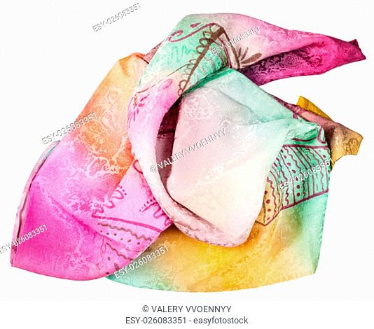crumpled handmade sewing pink and yellow silk scarf with batik pattern isolated on white background