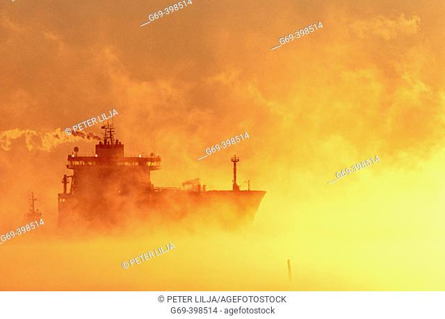 A ship steaming throught the mist, a cold wintermorning, in direct light. Skelleftehamn. Västerbotten. Sweden