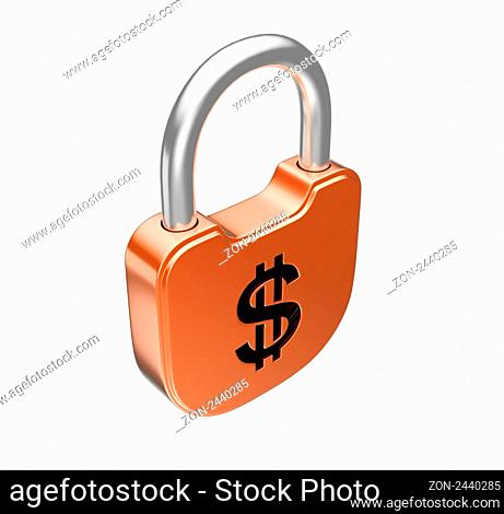 Locked padlock - US dollar currency concept. Isolated over white