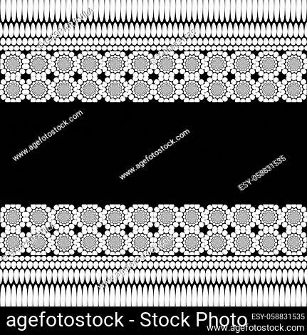 Monochromatic geometric floral ornaments pattern on a black background