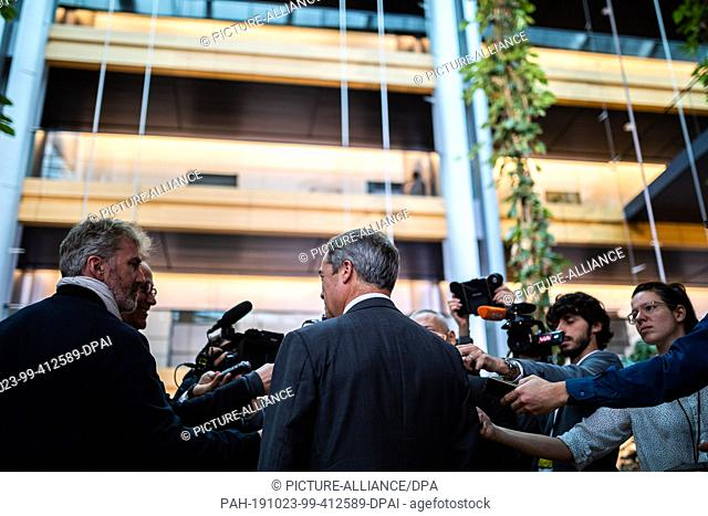 23 October 2019, France (France), Straßburg: Nigel Farage, Chairman of the British Brexit Party, speaks to media representatives in the European Parliament...