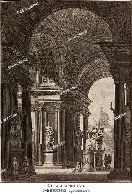 Architectural fantasy with Pope Clement XIV enthroned, engraving from Il Vignola Illustrato, by Giambattista Spampani and Carlo Antonini