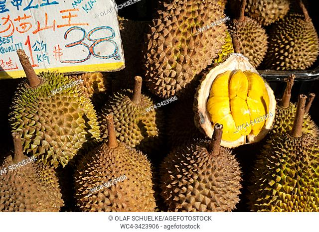 Singapore, Republic of Singapore, Asia - Fresh durians at a market stall in Chinatown