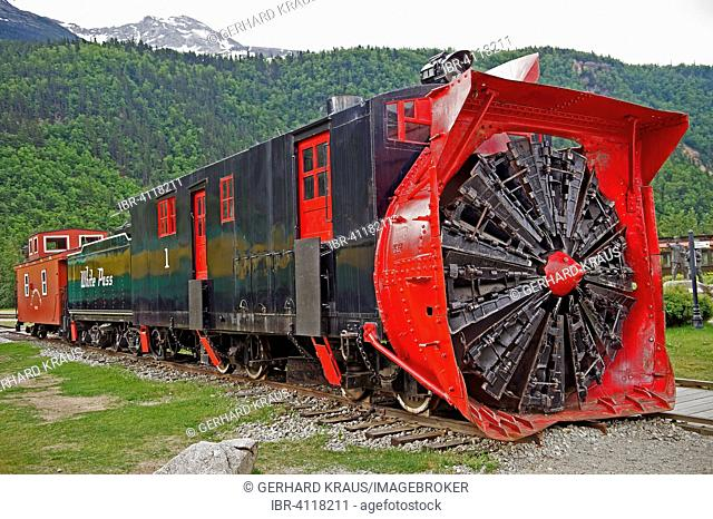 Historic locomotive with snow blower at train station, Skagway, Alaska, USA