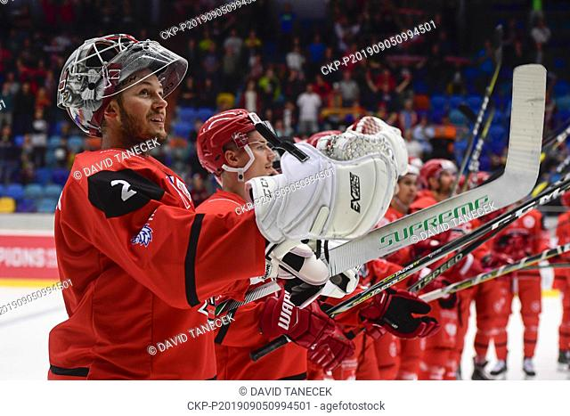 From left hockey player goalie Marek Mazanec of Hradec Kralove celebrates a victory after the Champions Hockey League H group game: Hradec Kralove vs Cardiff...