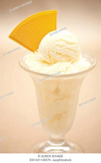 Vanilla ice cream in a glass