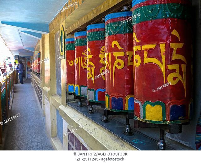 old praying wheels at temple at tsuglagkhang monastery in dharamsala, india
