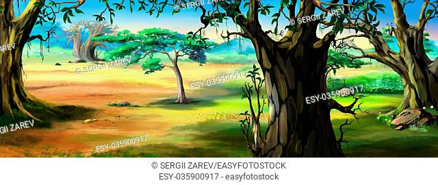 Digital painting of the African Savannah in a summer day with grass meadow on background. Panorama