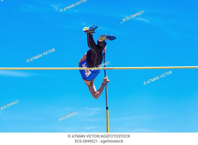 outdooor young adult male pole vaulting competition held 22nd april 2017 on the track and field stadium CIAT in Santa Cruz de Tenerife city