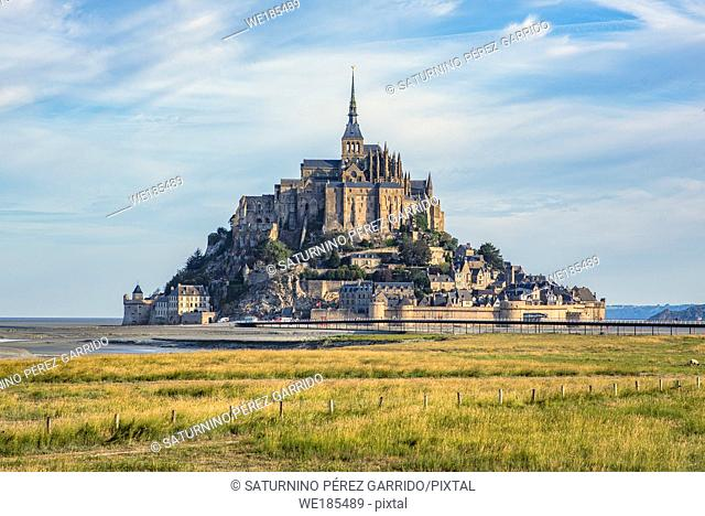 Mont Saint Michel and the Abbey with the sea at low tide