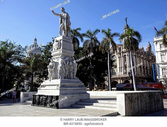 Statue of the Cuban national hero and fighter for independence Jose Martí, Parque Central, Havana, Cuba