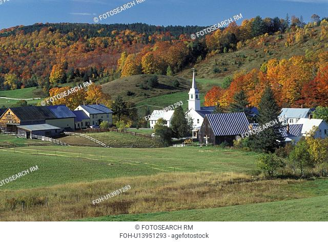 fall, village, East Corinth, VT, Vermont, colorful fall foliage