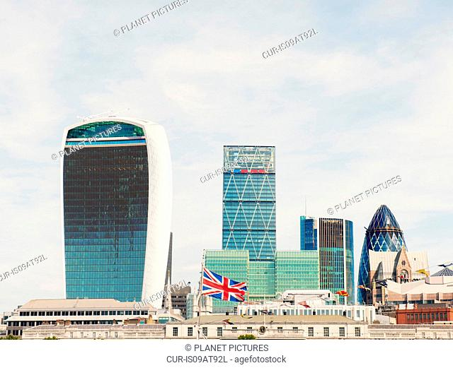 Cityscape with Walkie Talkie and Shard buildings, London, UK