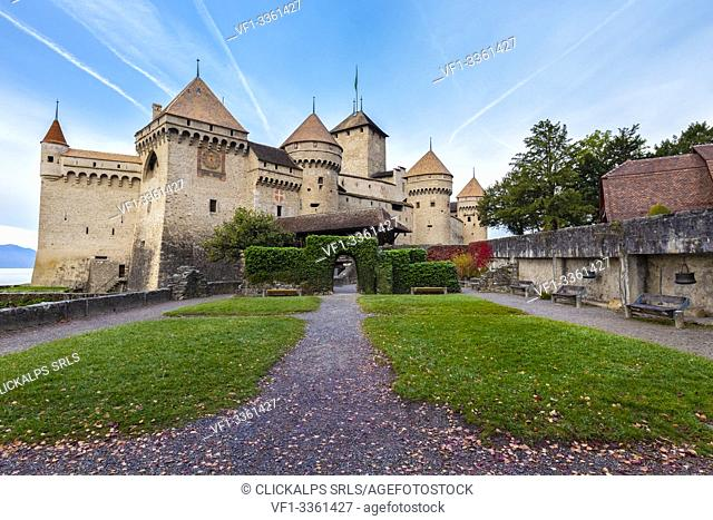 View of the courtyard of Chillon castle. Veytaux, Montreux, Canton of Vaud, Switzerland