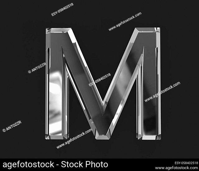 White shine glassy transparent alphabet - letter M isolated on dark background, 3D illustration of symbols
