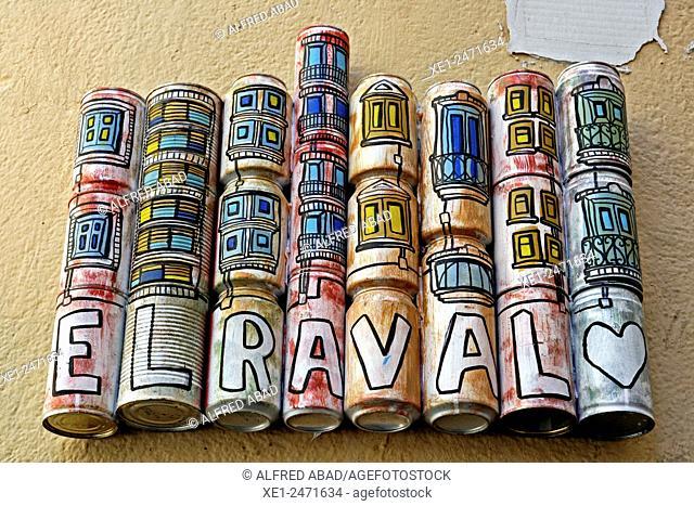 Tagline of tin cans, El Raval, Barcelona, Catalonia, Spain