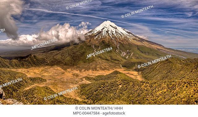 Mount Taranaki seen from slopes of Pouakai Range, New Zealand