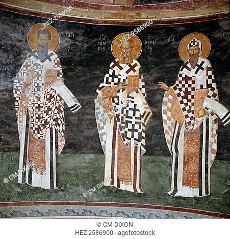 Mosaic of Byzantine fathers of the church, in the apse of the Patecclesion in the Church of St Saviour in Chora, Istanbul