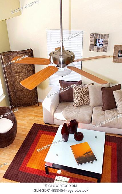 High angle view of a living room