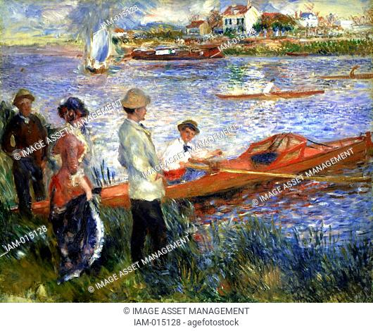 Rameurs a Chatou' Rowers at Chatou, 1879. Oil on canvas. Pierre-Auguste Renoir 1841-1919 French painter. Landscape Water River Riverbank Rowing Boat Skiff