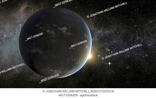 The artist's concept depicts NASA's Kepler mission's smallest habitable zone planet. Seen in the foreground is Kepler-62f