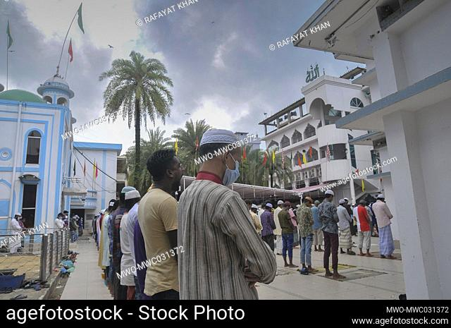 Muslims attending Friday prayers during the coronavirus pandemic at Hazrat Shahjalal Dorgarh Mosque, while maintaining social distancing and other health...