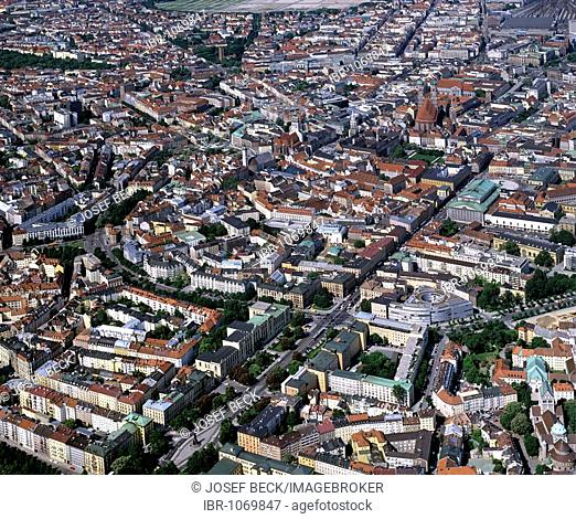 Aerial picture, historic centre, Alstadtring circular road, State Museum of Ethnology, Bavarian State Opera, Upper Bavaria, Germany, Europe
