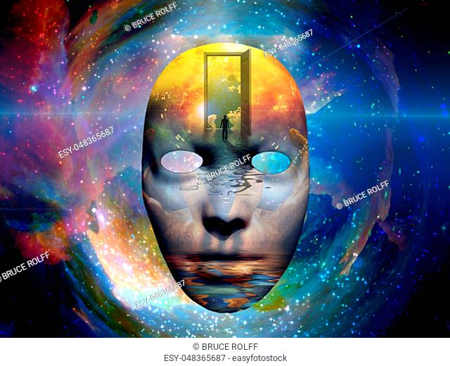 Mask with the image of man and open door to another world at the seashore. Colorful universe on background