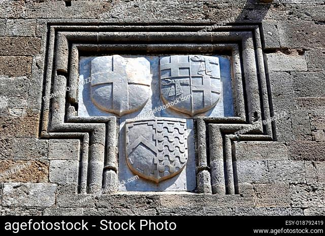 Shields on the walls of Rhodes fortress