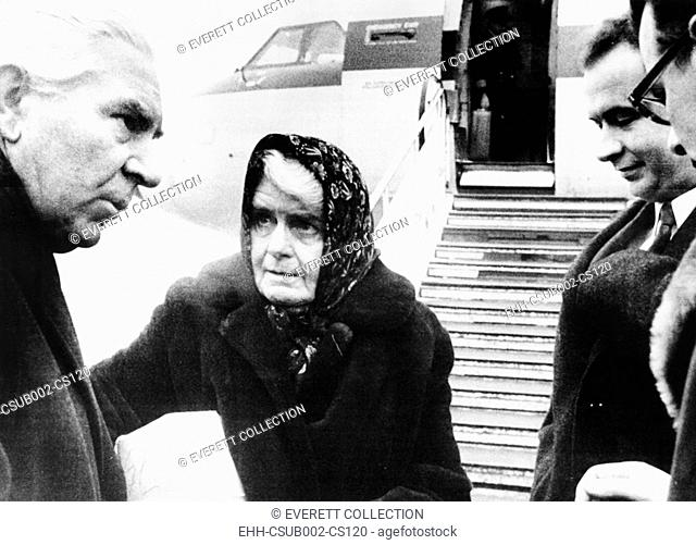 Ilse Pröhl Hess and son Wolf Ruediger, (right, without glasses) at Berlin Airport, Dec. 24, 1969. The wife and son of Nazi war criminal Rudolf Hess were going...