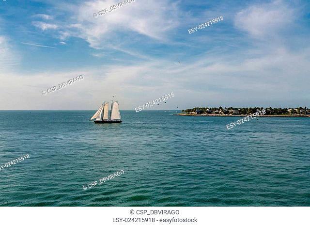 Three White Sails on Aqua Water