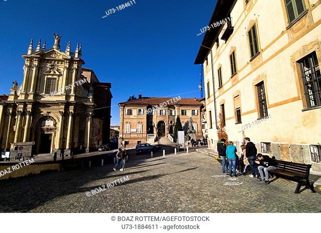The center of the old town of Bra slow food in Piedmont, Italy